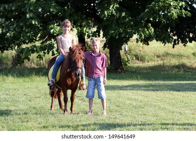 happy little girl and boy with pony horse on field