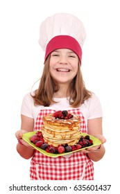 happy little girl cook with American pancakes