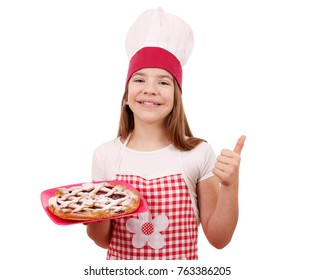 happy little girl cook with cherry pie and thumb up