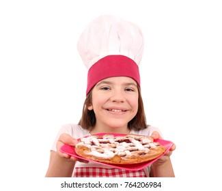 happy little girl cook with cherry pie dessert