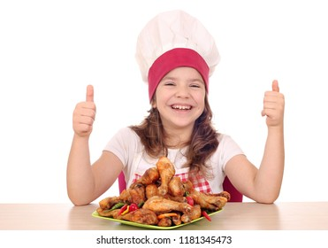 happy little girl cook with chicken drumstick and thumbs up