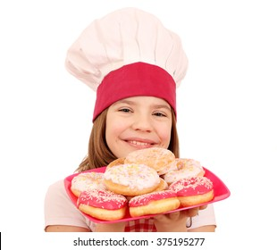 happy little girl cook with donuts fast food