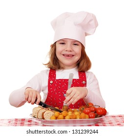 happy little girl cook with gourmet food