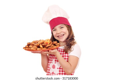 happy little girl cook hold dish with bruschetta
