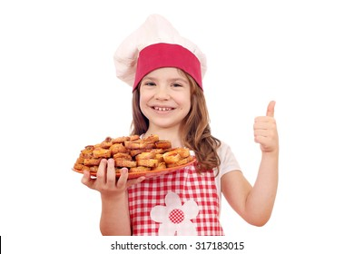 happy little girl cook hold with bruschetta and thumb up