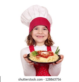 happy little girl cook holding dish with spaghetti