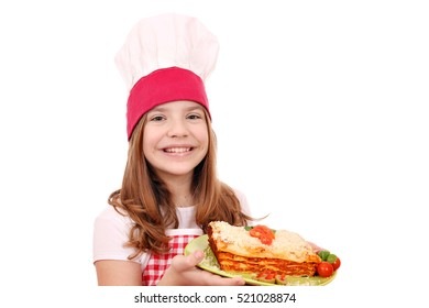 happy little girl cook with Italian lasagne