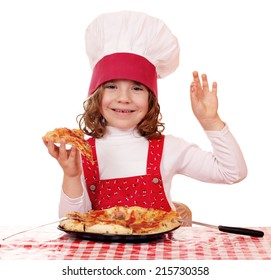happy little girl cook with pizza and ok hand sign