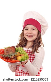 happy little girl cook with roasted turkey drumstick