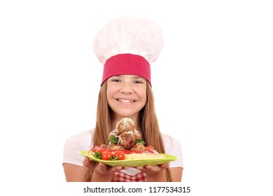 happy little girl cook with spaghetti and meatballs