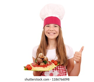 happy little girl cook with spaghetti and meatballs and thumb up
