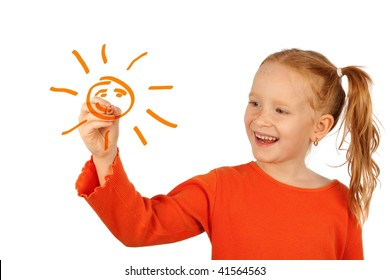 Happy little girl drawing sun, isolated on white