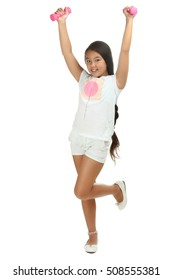 Happy little girl with dumbbells isolated on white background