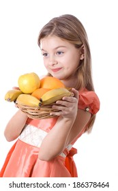 Happy little girl with fruit isolated