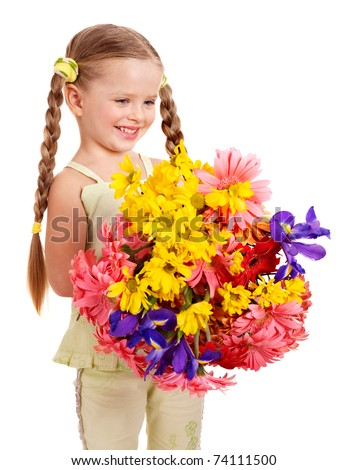 Image result for little girl holding a bunch of flowers