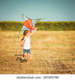 happy little girl with a kite in a field