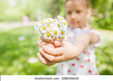 Happy little girl in nature with daisy bouquet at flower meadow, beautiful spring day