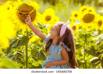 Happy little girl on the field of sunflowers in summer. beautiful little girl in sunflowers