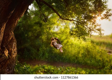 happy little girl on a swing on the branches of a big tree in the rays of the setting sun