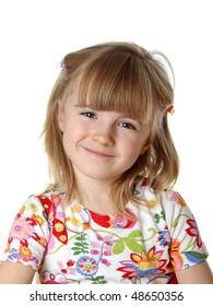 happy  little girl  on white