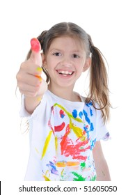 Happy little girl in a paint. Isolated on  white background.