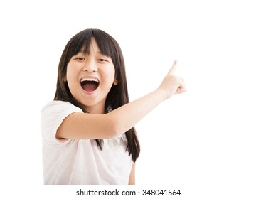happy little girl with pointing finger