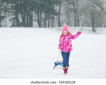 Happy little girl riding sled and having fun. Child play outdoors in snow - sledding. Kid sled in snowy park in winter. Outdoor fun for childhood Christmas vacation.