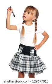 Happy little girl in school uniform with marker isolated on white background