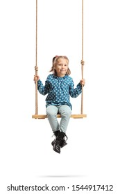 Happy little girl sitting on a wooden swing isolated on white background