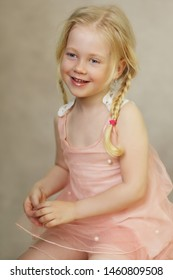 happy little girl studio portrait
