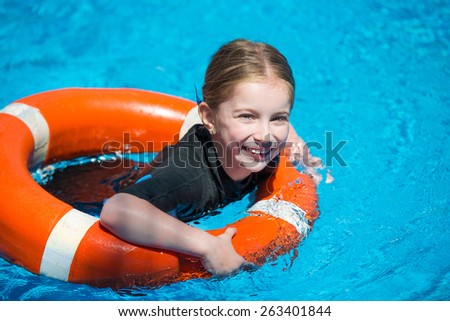 Happy Little Girl Swims Wetsuit Lifeline Stock Photo (Edit Now ... db45d52e3