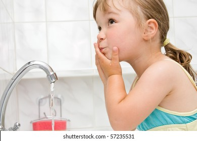 happy little girl in toilet