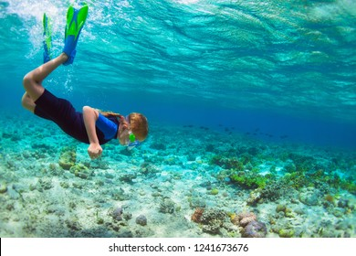 Happy little kid in snorkeling mask dive underwater with tropical fishes in coral reef sea lagoon. Family travel lifestyle in summer adventure camp. Swimming activities on beach holiday with children.
