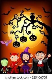 Happy little kids with costume halloween