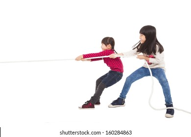 happy Little Kids playing Tug of War