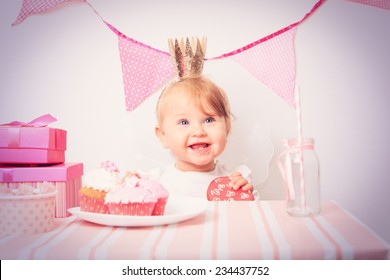 happy little princess at pink girls party