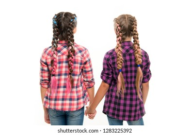 Happy little sisters. Beauty fashion. small kid fashion. Childhood happiness. Friendship and sisterhood. childrens day. Back to school. small girl children with perfect hair. My future is in my hands.