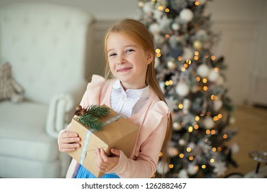 Happy little smiling girl with christmas gift box.