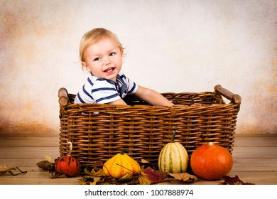 Happy little toddler sitting in the basket