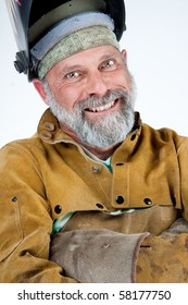 happy looking man in welding protective clothing