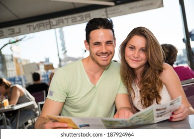 happy and lovely young couple on holiday