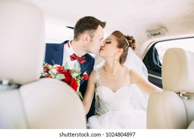 happy lovers in the car