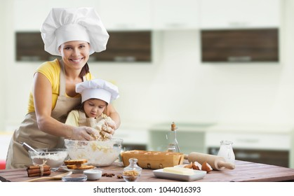 Happy loving family cooking