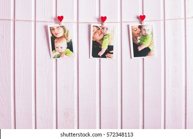Happy loving family. Mother and child son, kissing and hugging