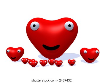 A happy and loving set of heart's for romantic concepts.