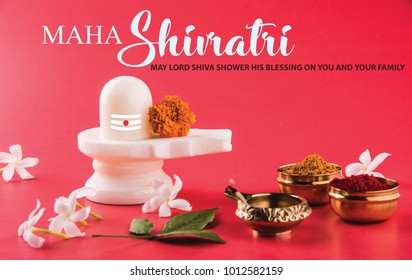 Happy Maha Shiv Ratri or Shiv Ratri wishes and greeting card, Birthday Of Lord Shiva. - Shutterstock ID 1012582159