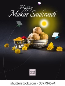 Happy Makar Sankranti greeting card using Sweet Sesame or Tilgul Laddu in a bowl with huldi Kumkum and flowers, with copy space