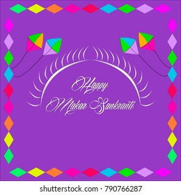 Happy makar Sankranti greetings with sun and kites.