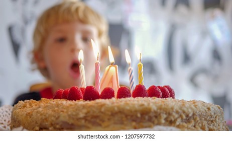 Happy male child boy blowing out birthday candles on cake