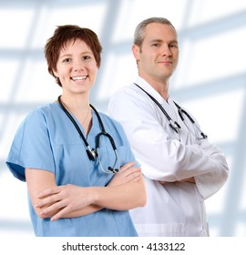 happy male doctor in lab coat on white